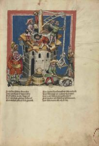 The Construction of the Tower of Babel; Unknown; Regensburg, Bavaria, Germany; about 1400 - 1410. Courtesy of the Getty's Open Content Program